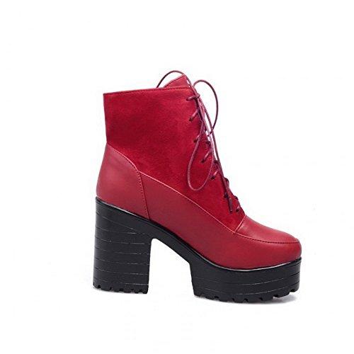 AllhqFashion Mujer Puntera Redonda Tacón Alto Material Suave Sólido Cordones Botas Rojo