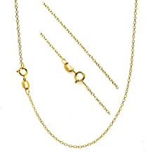 """18K Gold Flashed Sterling Silver 1.2mm Very Thin Italian Cable Chain Necklace All Sizes 14"""" - 36"""""""