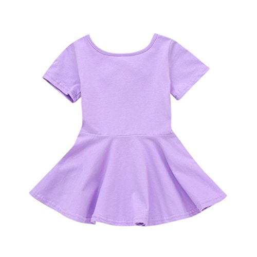(Staron Baby Girls Candy Color Short Sleeve Summer Casual Cotton Solid Princess Dress (6-12 Months, Purple))