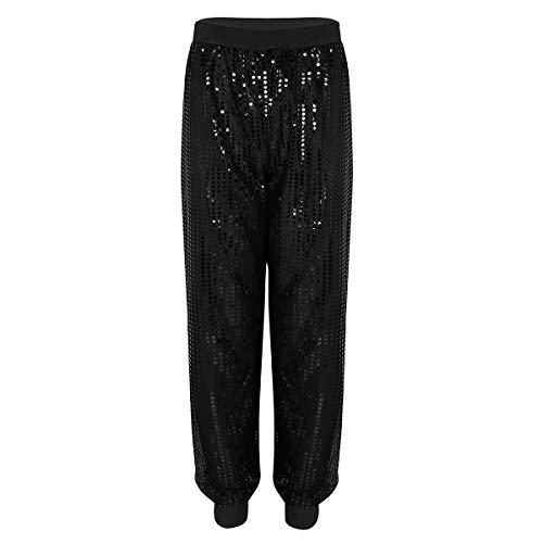 YiZYiF Fashion Glitter Sequin Long Harem Pants Shinny Bloomers Trousers for Men Women Black S/M