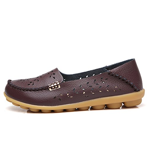 Slip Loafers on Floral Casual Moccasins coffee Soft Leather Womens Flat CiF NiNE 1wpIqB4q