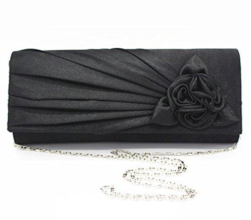 Sacs Dîner à main Sac de Rose Femmes Soirée Mariée Clutch pour Fleur noir de Fête UI1wq