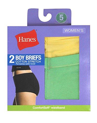 Hanes Girls Cotton Boy Short (Hanes Women's Cotton Stretch Boy Briefs 2-Pack, Assorted, Size 7)