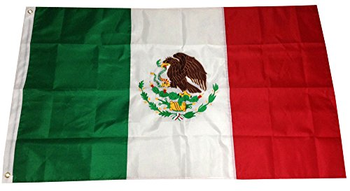 3x5 Ft EMBROIDERED SEWN NYLON Mexican Country National Flag - MEXICO PREMIUM Vivid Color and UV Fade BEST Garden Outdor Decor Resistant Canvas Header and polyester material FLAG