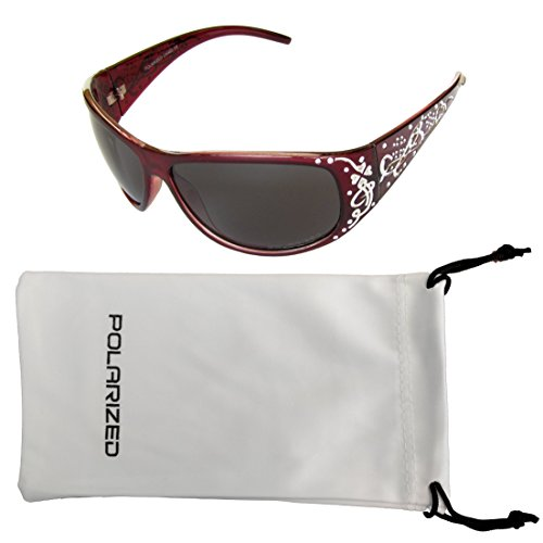 Vox Women's Polarized Sunglasses Designer Fashion Eyewear Free Microfiber Pouch – Red Frame - Smoke - Fake Sunglasses Chanel