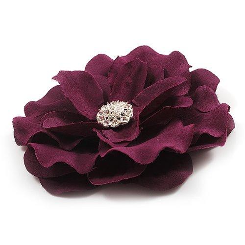 Grosse Broche Fleur Satin Cristal Violet Pourpre