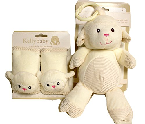 Babies can travel in comfort with these Seat Belt Covers with Matching Rattle Pram Toy (Cream (Lamb Strap)