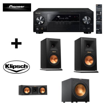 Pioneer Vsx-1124 7.2-channel Network A/v Receiver (Black) + 2 Klipsch Rp-260f Floorstanding Speaker with Dual 6.5 Inch Cerametallic Cone Woofers - Each (Ebony) + Klipsch R-12sw Powerful 12'' 400 Watts Subwoofer + Klipsch Rp-250c Center Channel Speaker +