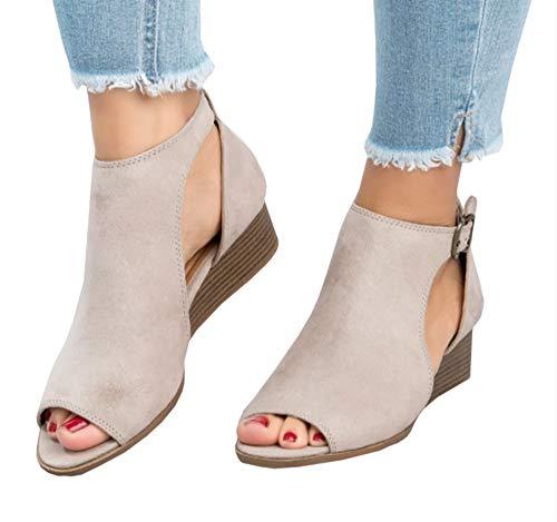 - Ruanyu Womens Wedge Sandals Peep Toe Cutout Ankle Strap Summer Low Heel Wedges