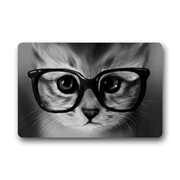 Custom decorativa Hipster gato Felpudo para secar mojado pies, Grabing suciedad y polvo: Amazon.es: Jardín