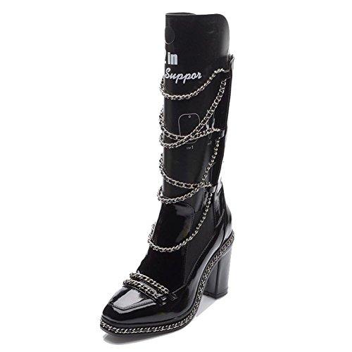 Las mujeres botas de Martin corto cadena de piel tacones altos zapatos de cálido, BLACK-39 BLACK-36