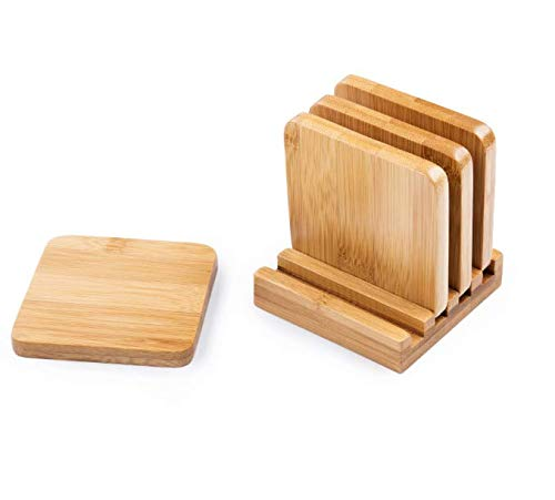 Bamboo Coasters 4-Pack Set with Holder - Classic Design | Stylish and Elegant | Great Gift - Coasters Set 4