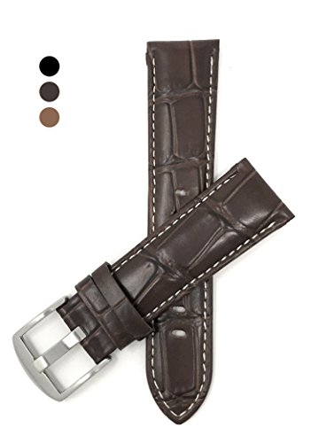Brown Crocodile Leather Watch - 20mm, Mens', Brown Crocodile Style, Genuine Leather Watch Band Strap, Also Comes in Black and Tan, White Stitching
