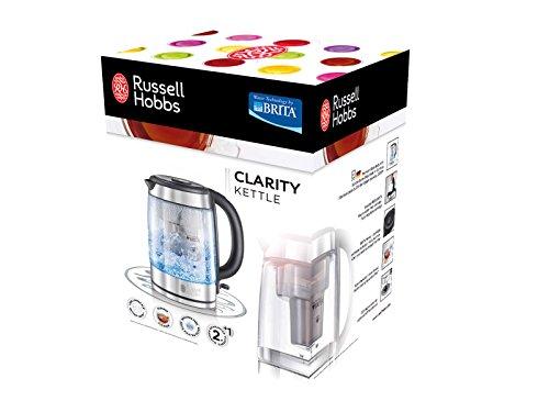 Russell Hobbs 20760-70 Clarity - Hervidor de vidrio Schott, Filtro MAXTRA de BRITA incluido, 2200 W, resistencia oculta: Amazon.es: Hogar