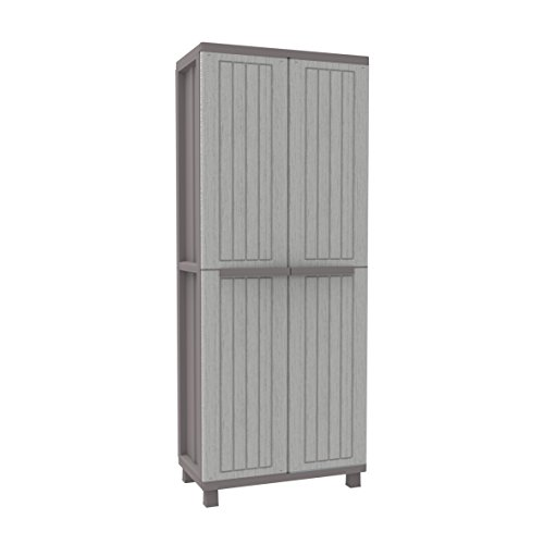 (Terry Jwood 268 Tall Wardrobe, with Shelves, Plastic, Grey/Taupe, 68 x 37.5 x)