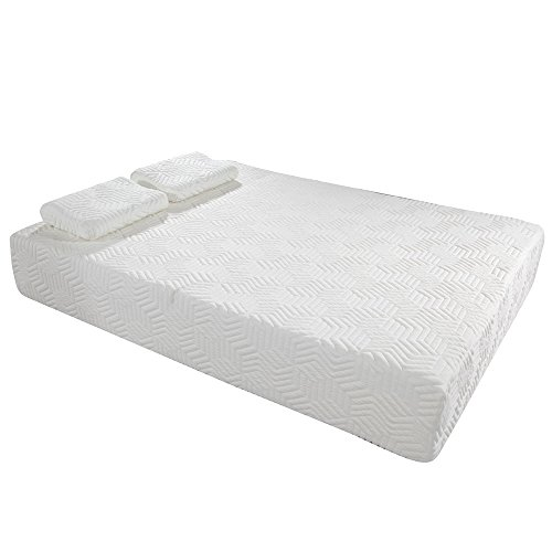 "10"" Memory Foam Mattress Three Layers Cool Medium High Softness Cotton Mattress w/2 Pillows (Full Size) White from yis-henson"