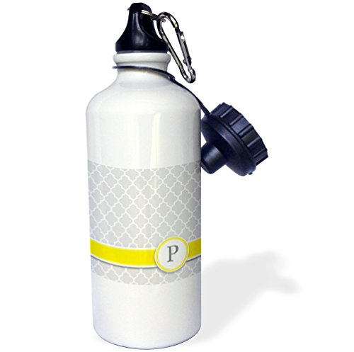 """3dRose wb_154582_1 """"Your personal name initial letter P-monogrammed grey quatrefoil pattern-personalized yellow gray"""" Sports Water Bottle, 21 oz, White"""