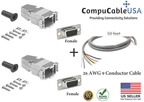 - CompuCablePlusUSA.com Best DB9 Female/Female Solder Type Connector Kits w/Metal Hood+Gold Plated Pro D-Sub Female/Female Pins+Strain Relief Grommet+26 AWG 9 Conductor Shielded Cable 50' Complete Set