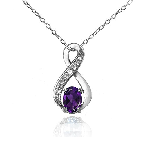 Sterling Silver African Amethyst and White Topaz Infinity Drop Necklace