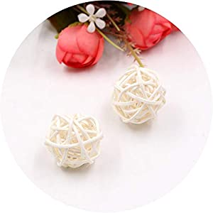 be-my-guest 5/10Pcs 3cm Colorful Rattan Ball Artificial Flowers Ball Christmas New Year Party Decoration Children Gifts DIY Craft Supplies,White,5Pcs 112