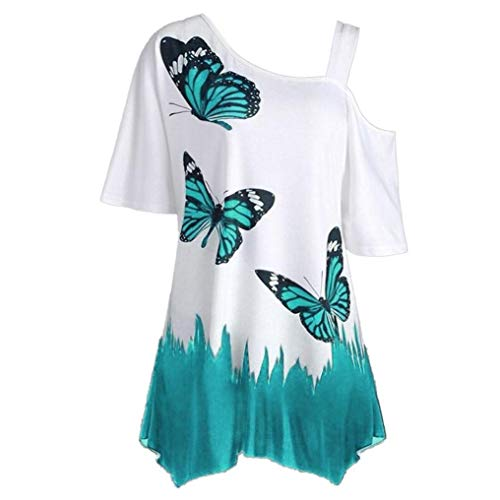 iDWZA Women Casual Butterfly Print One Shoulder T-Shirt Short Sleeve Tops Blouse(M,Blue )