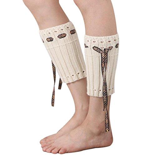 WOCACHI Damen Stulpen Winter Frauen Böhmen kurzer Punkt Beinlinge Socken Stiefel Abdeckung (Weiß)