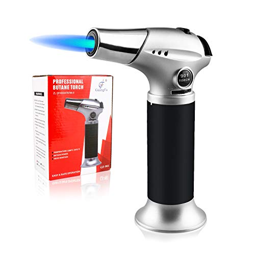 Blow Torch Lighter, Culinary Torch, Refillable Kitchen Butane Torch with Safety Lock and Adjustable Flame Perfect for DIY, Creme Brulee, BBQ and Baking, Butane Gas Not Included, Black ()