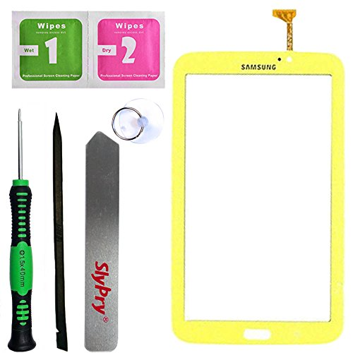 Prokit Adhesive® Samsung Galaxy Tab 3 7.0 P3210 T210 wifi Yellow Touch Screen Digitizer Panel Glass Replacement Part + PreInstalled Adhesive with SlyPry® tools kit