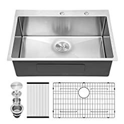 Kitchen Kitchen Sink Drop In – Sarlai 28″ x 22″ Drop in / Topmount Stainless Steel Kitchen Sink 16 Gauge Round Corner Deep Single Bowl Sink Basin modern kitchen sinks