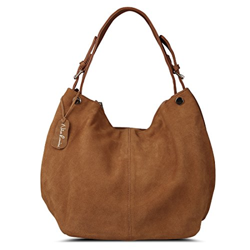 Nico Louise Women's Genuine Leather Suede Purse Shoulder Bag Casual Hobo Bag Yellow Brown