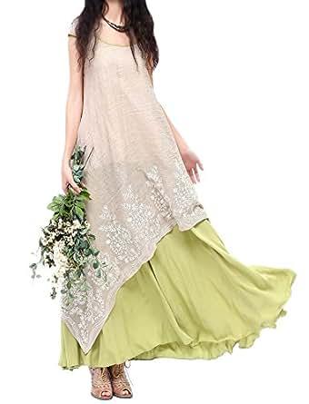 Allbebe Allbebe Cotton Embroidery Fake Two piece Linen Folk Style Long Dress (4XL, Grey&Green)