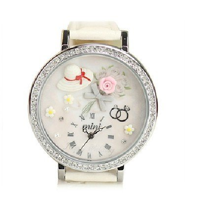 Passion Time Mini handmade polymer clay cartoon watch ladies watch rhinestone table rose