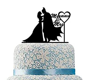 Romantic Batman And Catwoman Cake Topper Silhouette Wedding