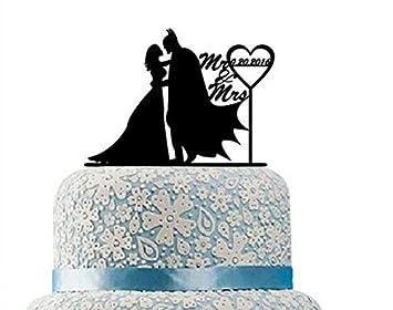 Batman Wedding Cake.Romantic Batman And Catwoman Cake Topper Silhouette Wedding Cake