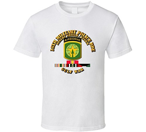 2XLARGE - Army - 16th Military Police Bde - Desert Storm - Shield W Svc T Shirt - White ()
