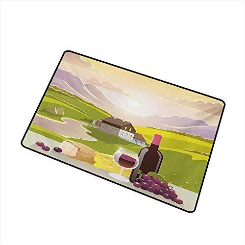 BeckyWCarr Winery Universal Door mat Wine Cheese Bread with Mountain Landscape in French Rurals Pastoral Scenery Door mat Floor Decoration W23.6 x L35.4 Inch,Green Purple Cream