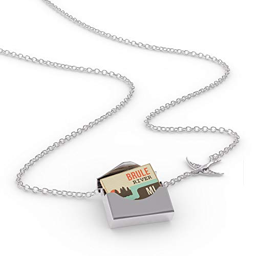 NEONBLOND Locket Necklace USA Rivers Brule River - Michigan in a Silver Envelope ()