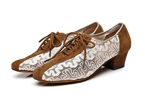 Block Dancing Mesh Prom MINITOO Low Heel Party Women's Floral Brown Shoes 3 UK Pumps 5zXwYqpw