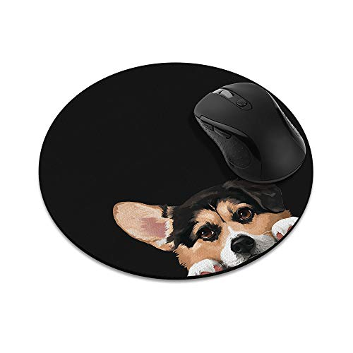 Non-Slip Round Mousepad, WIRESTER Tricolor Pembroke Welsh Corgi Mouse Pad for Home, Office and Gaming Desk ()