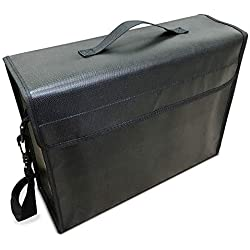 """Fireproof Document Bag 2000°F for Money and Files - 15""""x12""""x5"""" Inch Water Resistant Fire Safe Security Box - Safety Storage Organizer Bags for Important Legal Documents, Cash & Valuables by SlayMonday"""