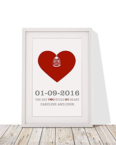 Anniversary, Valentines Day Gift - Heart Design With Love Birds Personalised Wall Art, Framed Print With Mount - 12 x 10 Inch - Perfect Wedding Anniversary Or Valentines Day Present