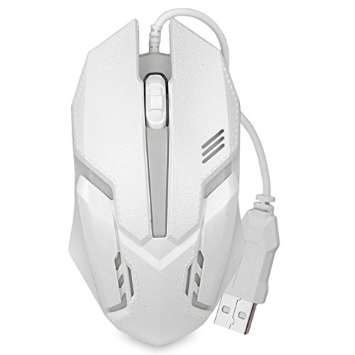 Gaming Mouse 3-Button USB 3D Optical Scroll LED Gaming Mouse with 1600dpi (White)
