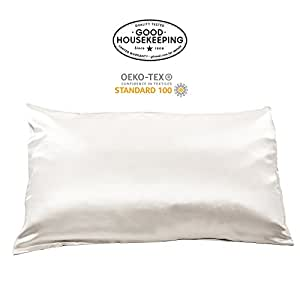Fishers Finery 19mm 100% Pure Silk Pillowcase Good Housekeeping Quality Tested (White, Q)