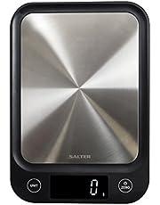 Salter digitale Küchenwaage Edelstahl - Elektronische Waage für Küche, schlankes Design, präzises Wiegen, metrisch + imperial, Flüssigkeiten in ml + fl. Oz., genaue Messung bis 5kg, 15 Jahre Garantie