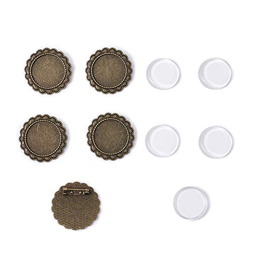 Clear Flower Brooch - Pandahall 5Sets 25mm Iron Flower Brooch Making Transparent Clear Flat Round Magnifying Glass Cabochon Cover Bezel Setting for Women Brooch Back Safety Catch Back Round Bar Pins Antique Bronze