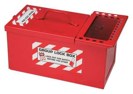 Brady Padlock Storage and Group Lock Box for Lockout/Tagout, Small, 12-1/2'' Length, 7-1/2'' Width, 6'' Depth