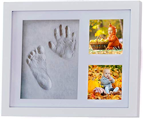Baby/Newborn Handprint & Footprint Picture Frame kit for The Keepsake with Accessories & Gift Box by 4Baby Stars -Awesome Boy & Girl Baby Shower Gift for Registry -Baby Room Decor -Unique Baby Memory