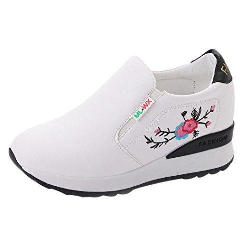 4d7fdf79 Siswong Las Mujeres Zapatos Lona de Cuña Oculta de Tacón Alto Plataforma  Zapatillas Blancas de la
