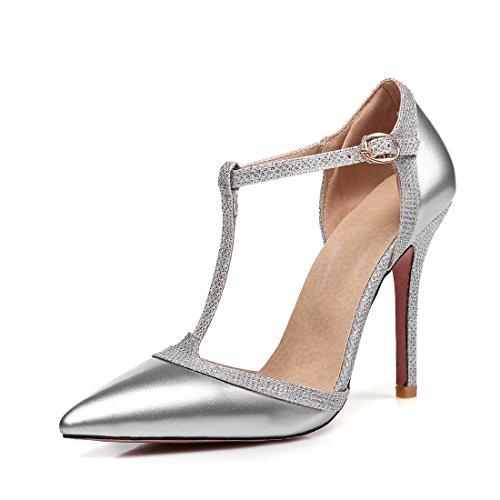 alto sandali fibbie sandali 36 i sandali sandali signore i sandali hollow sexy argenteo ha tacco SAwqvt