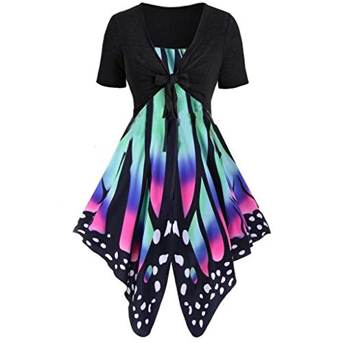 - Toponly 2Pcs Women's Short Sleeve Butterfly Print Bow Knot Bandage Tops Pullover Cardigan+Camisole Sling Mini Dress Suits
